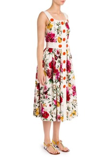 Dolce & Gabbana Brocade Floral-Print Topstitch Dress