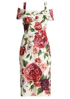 Dolce & Gabbana Brocade peony and rose-print dress