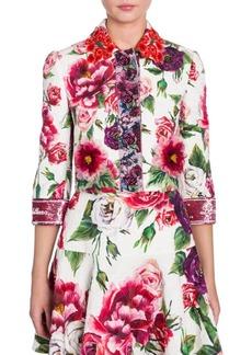 Dolce & Gabbana Brocade Stampa Peonie Cropped Jacket