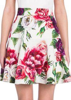 Dolce & Gabbana Brocade Stampa Peonie Skirt