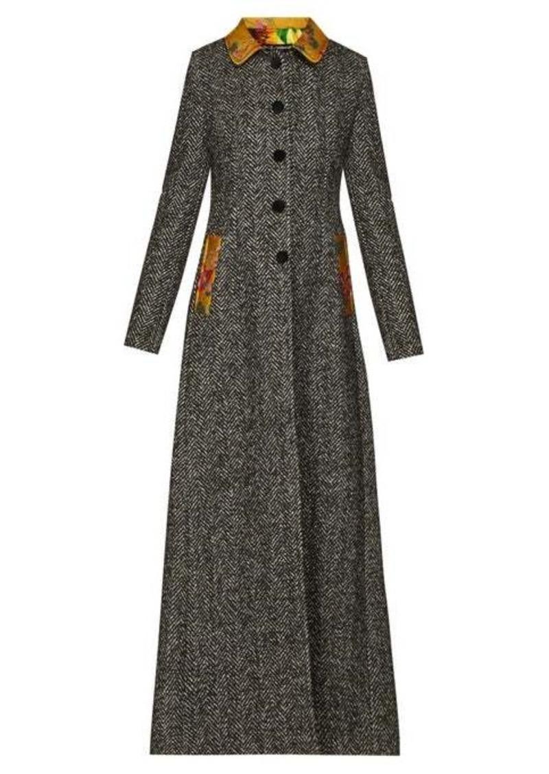 Dolce & Gabbana Brocade-trim single-breasted herringbone coat