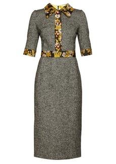 Dolce & Gabbana Brocade-trimmed wool-blend tweed dress