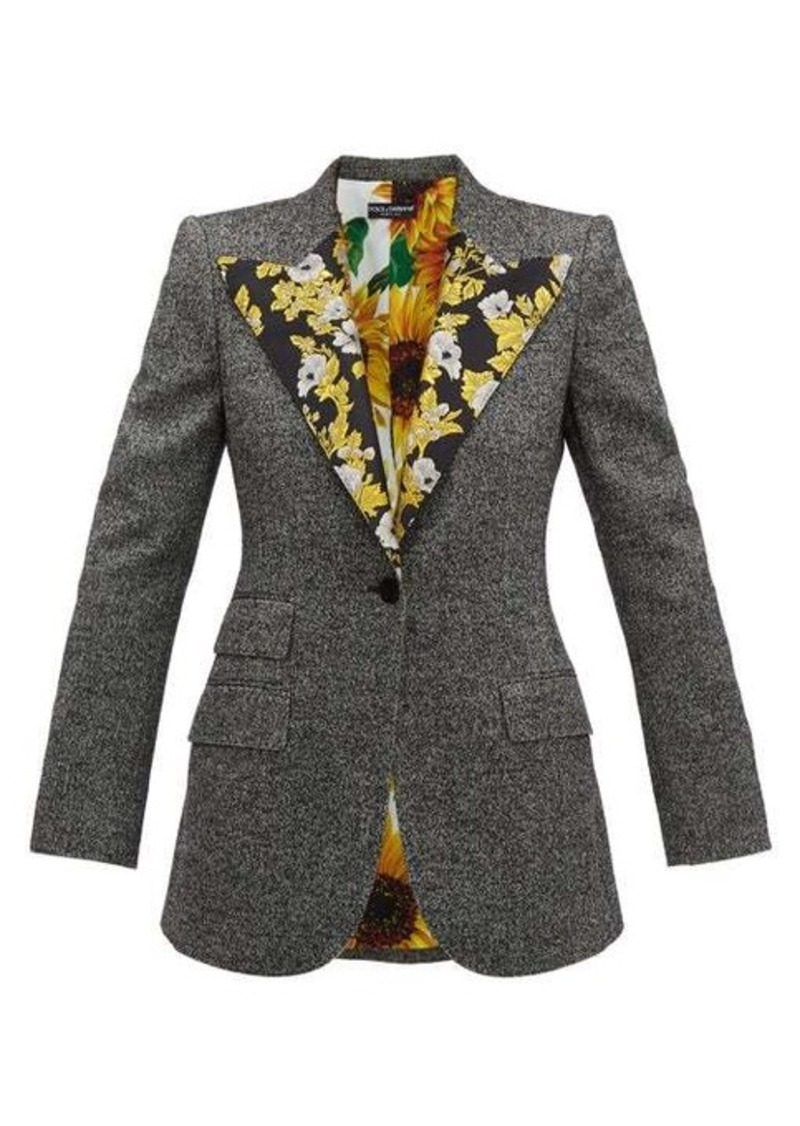 Dolce & Gabbana Brocade-trimmed wool-blend tweed jacket