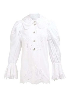 Dolce & Gabbana Broderie-anglaise cotton-blend blouse