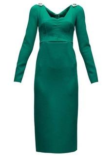Dolce & Gabbana Brooch-embellished wool-blend crepe dress