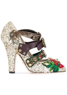 Dolce & Gabbana buckle strap embellished pumps - Metallic