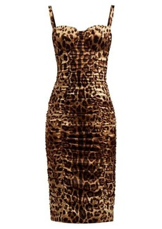 Dolce & Gabbana Bustier leopard-print silk-blend satin midi dress