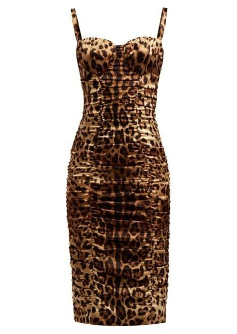 Dolce & Gabbana Bustier leopard-print silk-blend satin midi dress