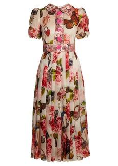 Dolce & Gabbana Butterfly and padlock-brocade midi dress
