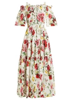 Dolce & Gabbana Butterfly and padlock-print off-the-shoulder dress