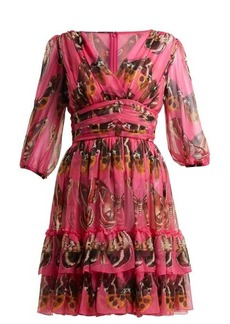 Dolce & Gabbana Butterfly-print silk-chiffon mini dress