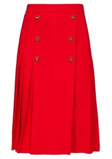 Dolce & Gabbana Button-embellished pleated wool-blend skirt