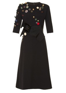 Dolce & Gabbana Button-embellished wool-blend dress