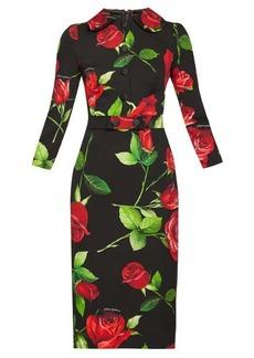 Dolce & Gabbana Buttoned rose-print crepe dress