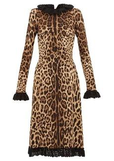Dolce & Gabbana Cady crochet-trimmed leopard-print crepe dress
