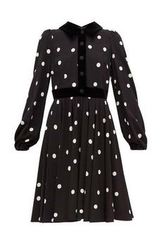 Dolce & Gabbana Cady velvet-trimmed polka-dot crepe midi dress