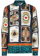 Dolce & Gabbana Card Print Silk Shirt - Multicolour