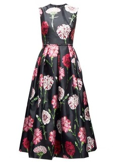 Dolce & Gabbana Carnation-print pleated silk-faille dress