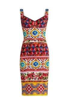 Dolce & Gabbana Carretto-print silk-blend charmeuse dress