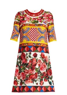 Dolce & Gabbana Carretto-print textured cotton-blend dress