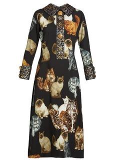 Dolce & Gabbana Cat-print crepe midi dress