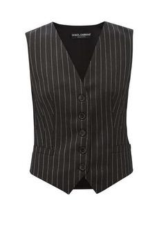 Dolce & Gabbana Chalk-striped wool-blend waistcoat