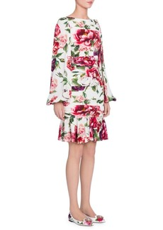 Dolce & Gabbana Charmeuse Stampa Peonie Full Sleeve Ruched Dress