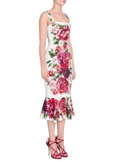 Dolce & Gabbana Charmeuse Stampa PeonieFlutter Hem Dress