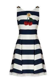 Dolce & Gabbana Cherry-embellished striped cady dress