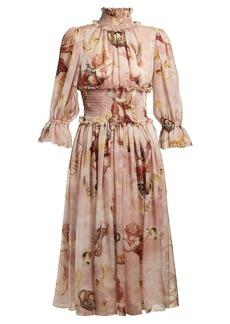 Dolce & Gabbana Cherub-print silk dress