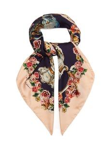 Dolce & Gabbana Cherub-print silk-twill scarf