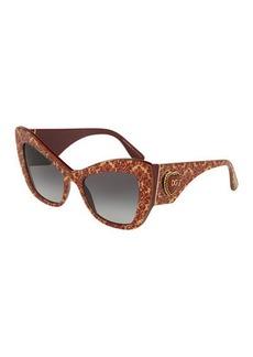 Dolce & Gabbana Chunky Cat-Eye Sunglasses w/ Logo Heart Temples