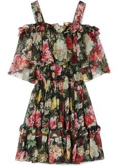 Dolce & Gabbana Cold-shoulder Floral-print Silk-chiffon Mini Dress