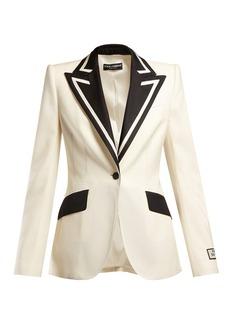 Dolce & Gabbana Contrast-lapel single-breasted wool-blend blazer
