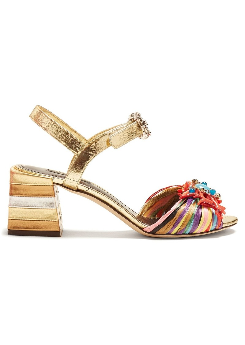 Dolce & Gabbana Coral-embellished striped sandals