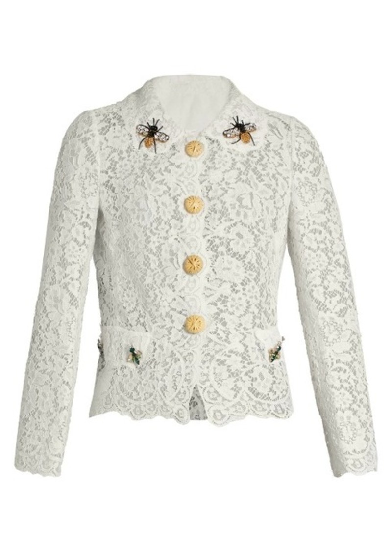 Dolce & Gabbana Cordonetto-lace embellished lace jacket