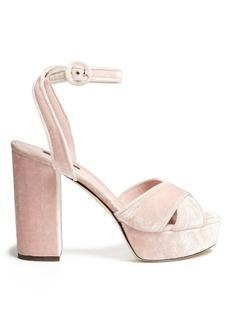 Dolce & Gabbana Cross-strap velvet platform sandals