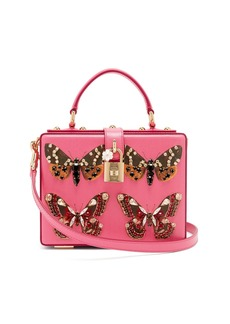 Dolce & Gabbana Crystal and butterfly-print leather box bag