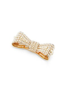 Dolce & Gabbana Crystal and faux-pearl embellished bow brooch
