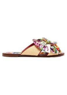 Dolce & Gabbana Crystal-buckle floral-print satin & raffia slides