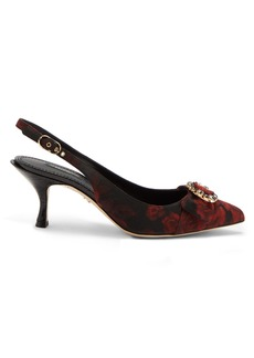 Dolce & Gabbana Crystal-buckle slingback jacquard pumps