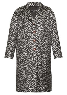 Dolce & Gabbana Crystal-button leopard-jacquard cocoon coat