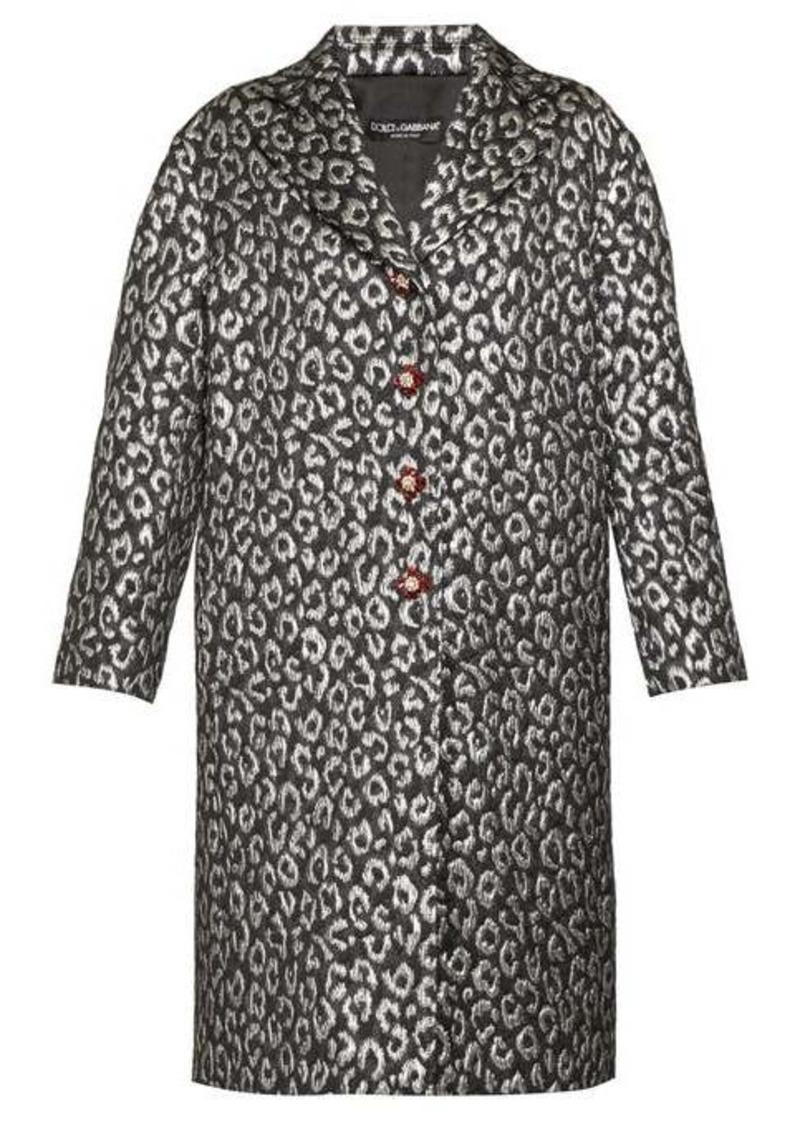 Dolce & Gabbana Crystal-button leopard-jacquard cocoon coat