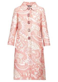 Dolce & Gabbana Crystal-button paisley-brocade coat