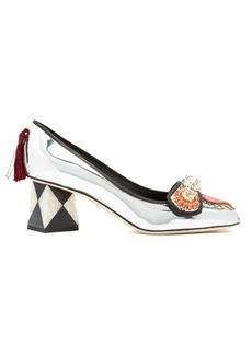 Dolce & Gabbana Crystal-embellished appliqué leather pumps