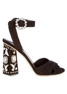 Dolce & Gabbana Crystal embellished block-heel suede sandals