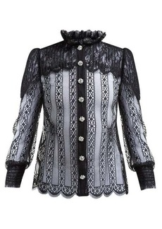 Dolce & Gabbana Crystal-embellished Chantilly-lace blouse