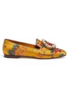 Dolce & Gabbana Crystal-embellished floral-brocade loafers