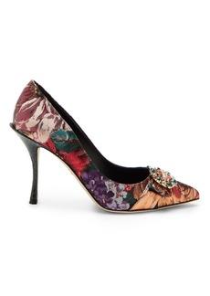 Dolce & Gabbana Crystal-embellished floral brocade pumps