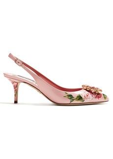 Dolce & Gabbana Crystal-embellished floral-print kitten-heel pumps